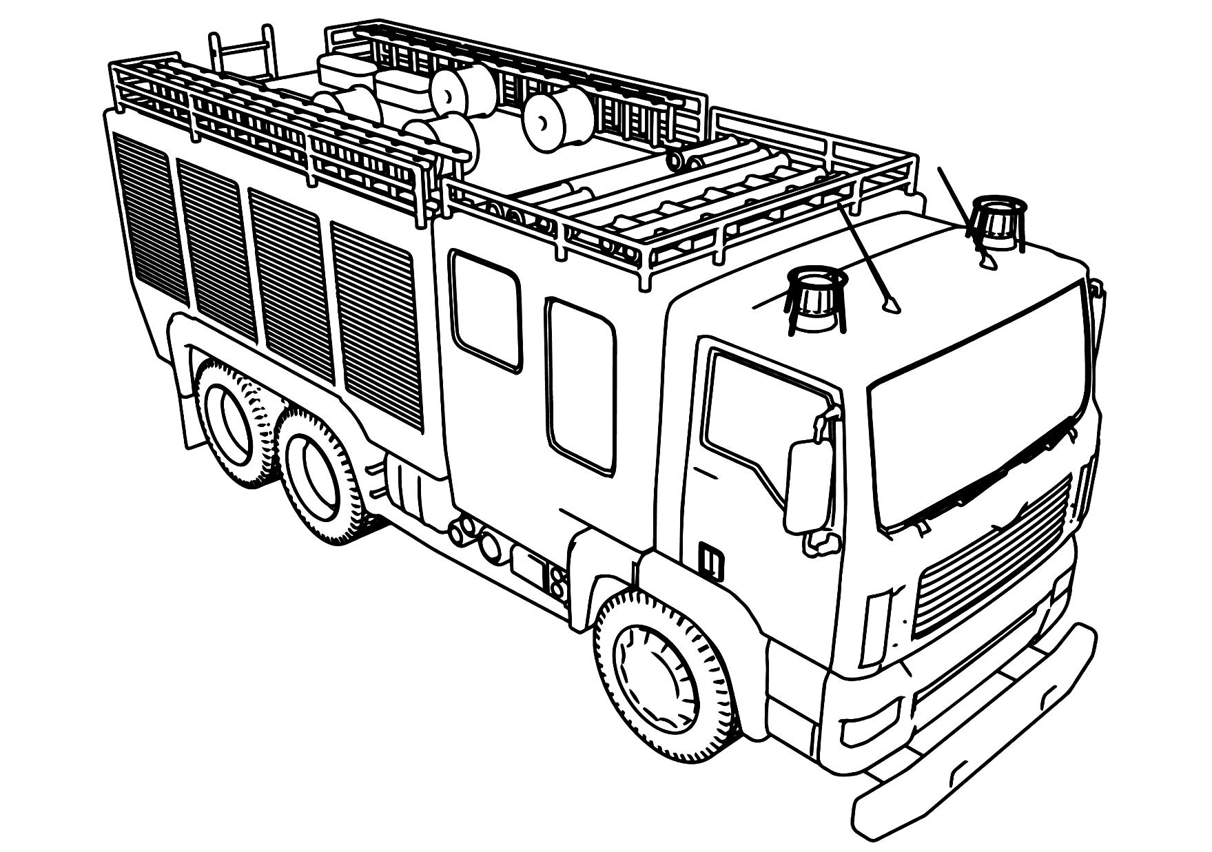 Tranh tô màu xe cứu hỏa nhìn từ trên cao xuống