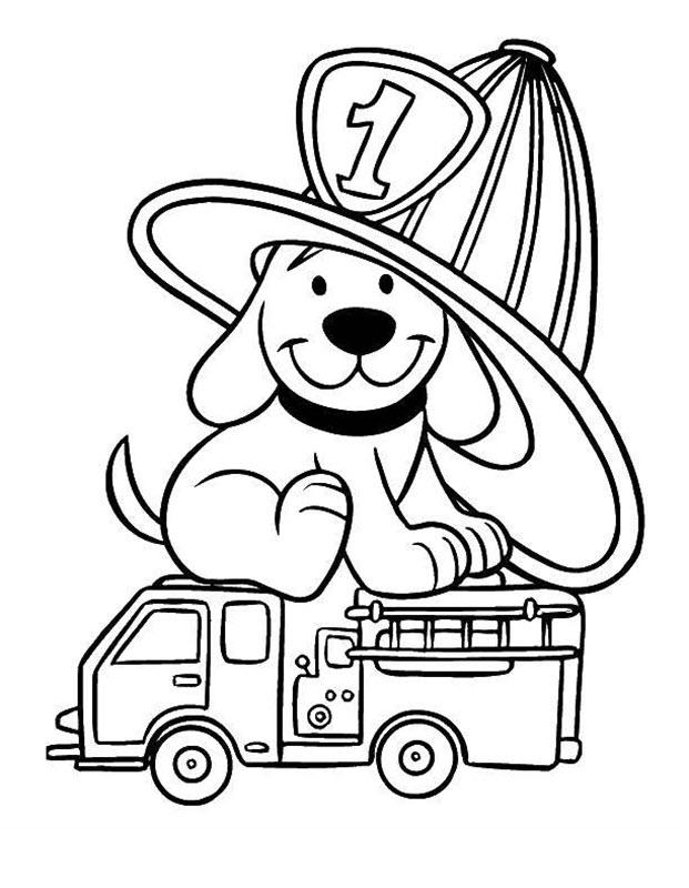 Tranh tô màu xe cứu hỏa và chú chó
