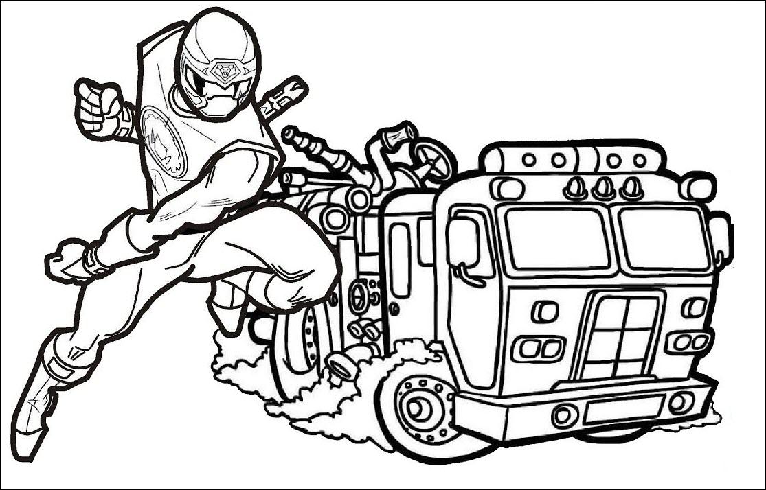 Tranh tô màu xe cứu hỏa và siêu nhân