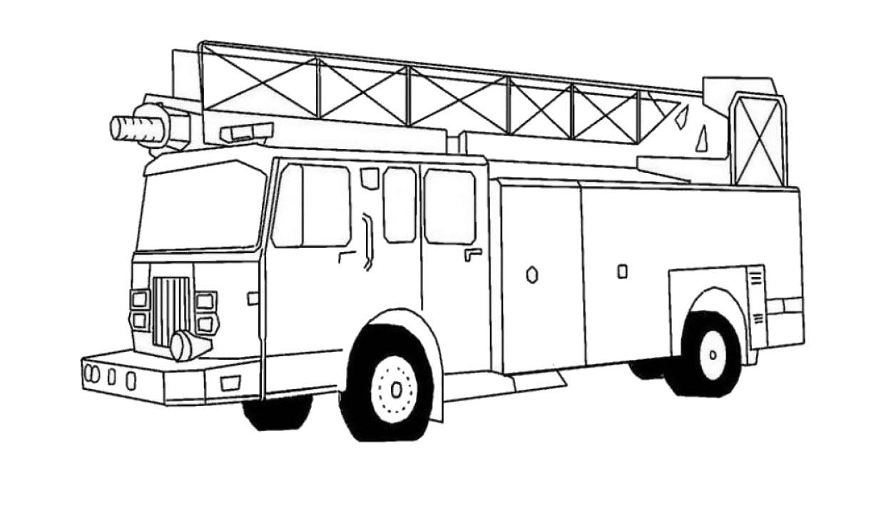 Tranh tô màu xe cứu hỏa (xe chữa cháy) đẹp