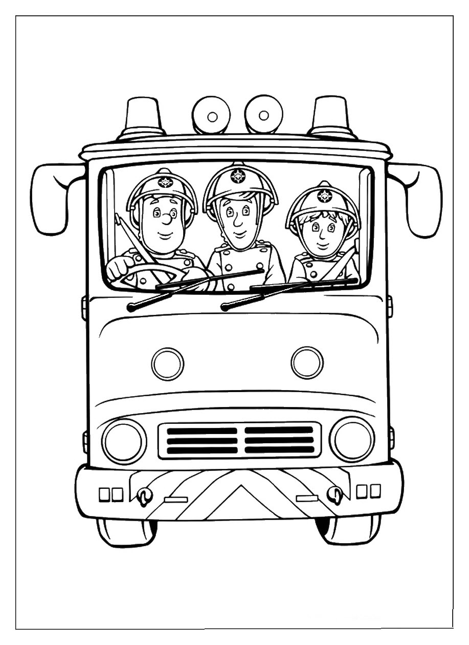 Tranh tô màu xe ô tô cứu hỏa