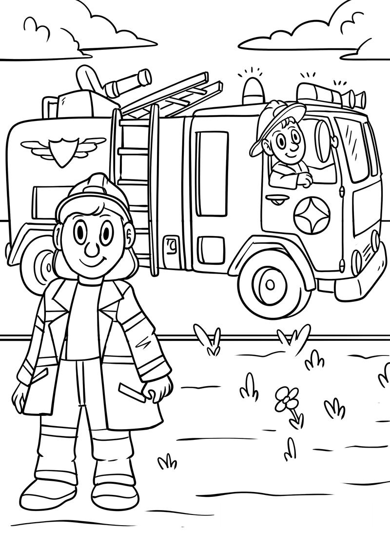 Tranh tô màu xe và lính cứu hỏa
