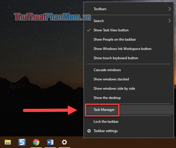 Chọn Task Manager