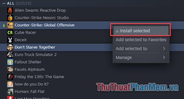 Click chuột phải và chọn Uninstall Selected