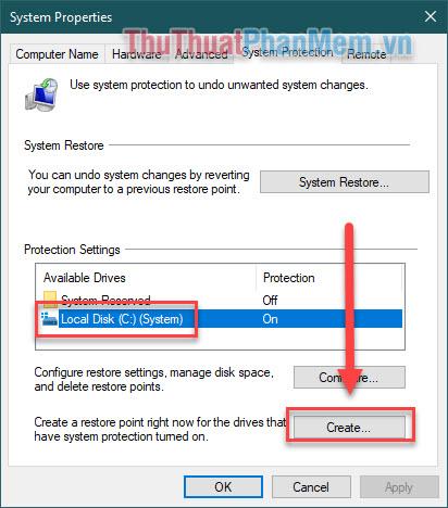 Click vào ổ đĩa C một lần nữa rồi chọn Create