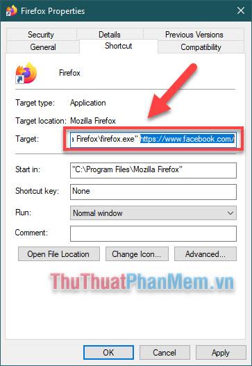 Copy và dán đường dẫn trang web vào vị trí phía sau dấu ngoặc kép