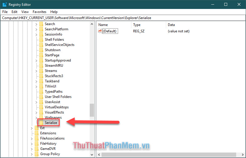 Đặt tên cho Key mới là Serialize và nó sẽ xuất hiện trong thư mục Explorer