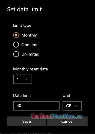 Một số lựa chọn trong Set data limit