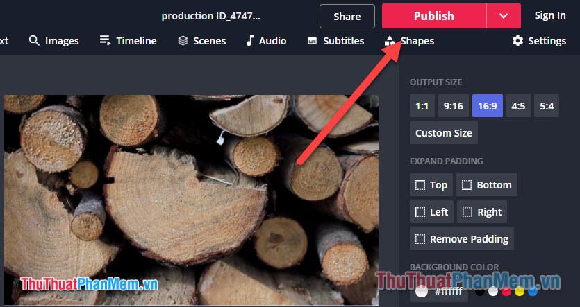 Nhấn Publish để công cụ bắt đầu xuất file video