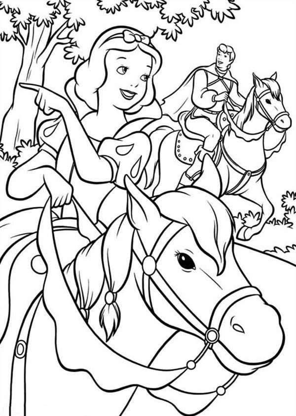 Bạch Tuyết cưỡi ngựa cùng hoàng tủ tranh tô màu