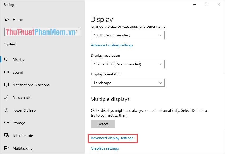 Chọn mục Advanced display settings
