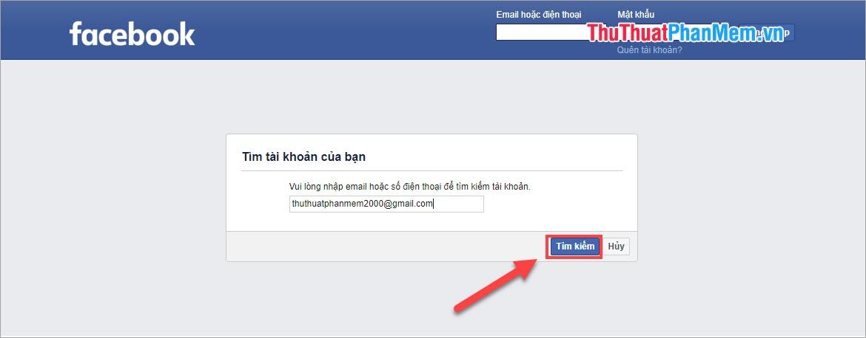 Nhập tên đăng nhập vào tài khoản Facebook của mình để tìm kiếm tài khoản