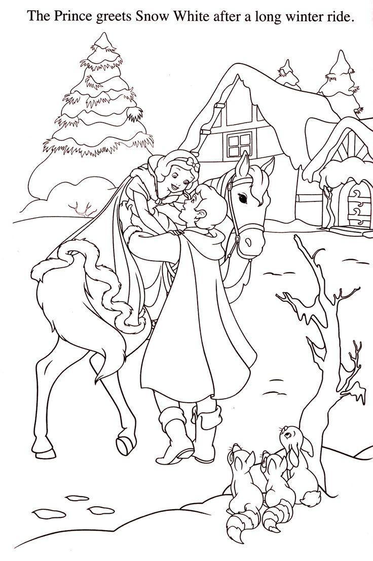 Tranh tô màu bạch tuyết cưỡi ngựa