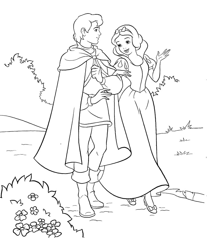 Tranh tô màu bạch tuyết đi dạo cùng hoàng tử