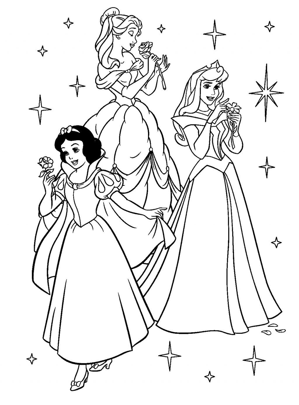Tranh tô màu bạch tuyết và các nàng công chúa Disney