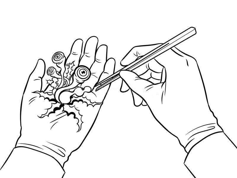 Tranh tô màu bàn tay bác sĩ