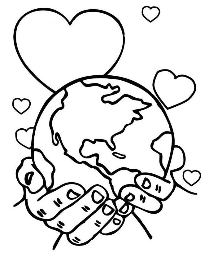 Tranh tô màu bàn tay bảo vệ trái đất