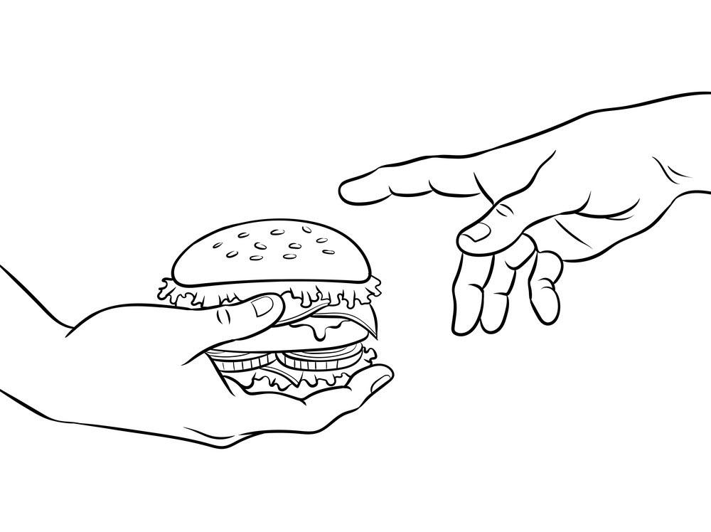 Tranh tô màu bàn tay cầm bánh