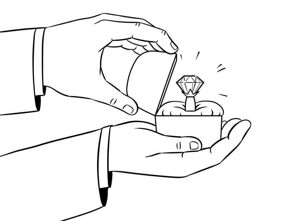 Tranh tô màu bàn tay cầm quà