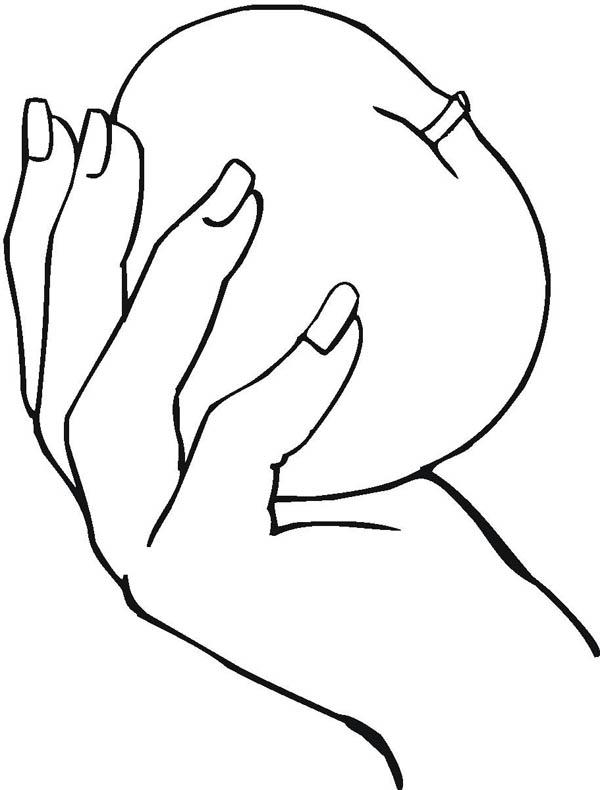 Tranh tô màu bàn tay cầm táo