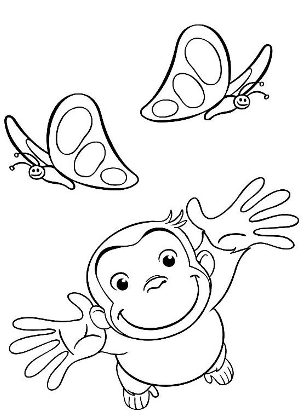 Tranh tô màu bàn tay chú khỉ