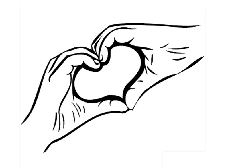 Tranh tô màu bàn tay tạo hình trái tim