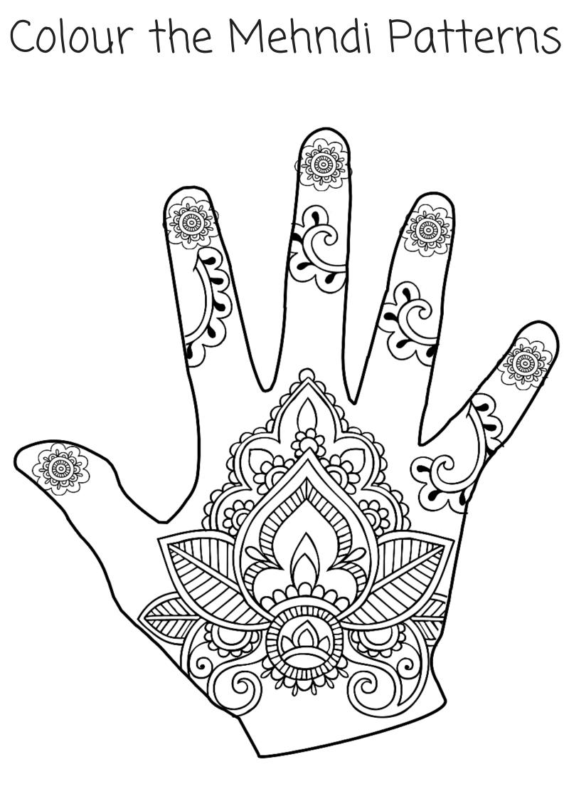 Tranh tô màu bàn tay tatoo