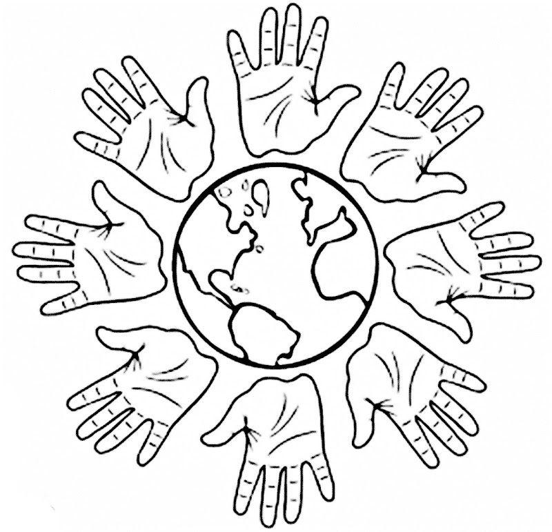 Tranh tô màu bàn tay và trái đất