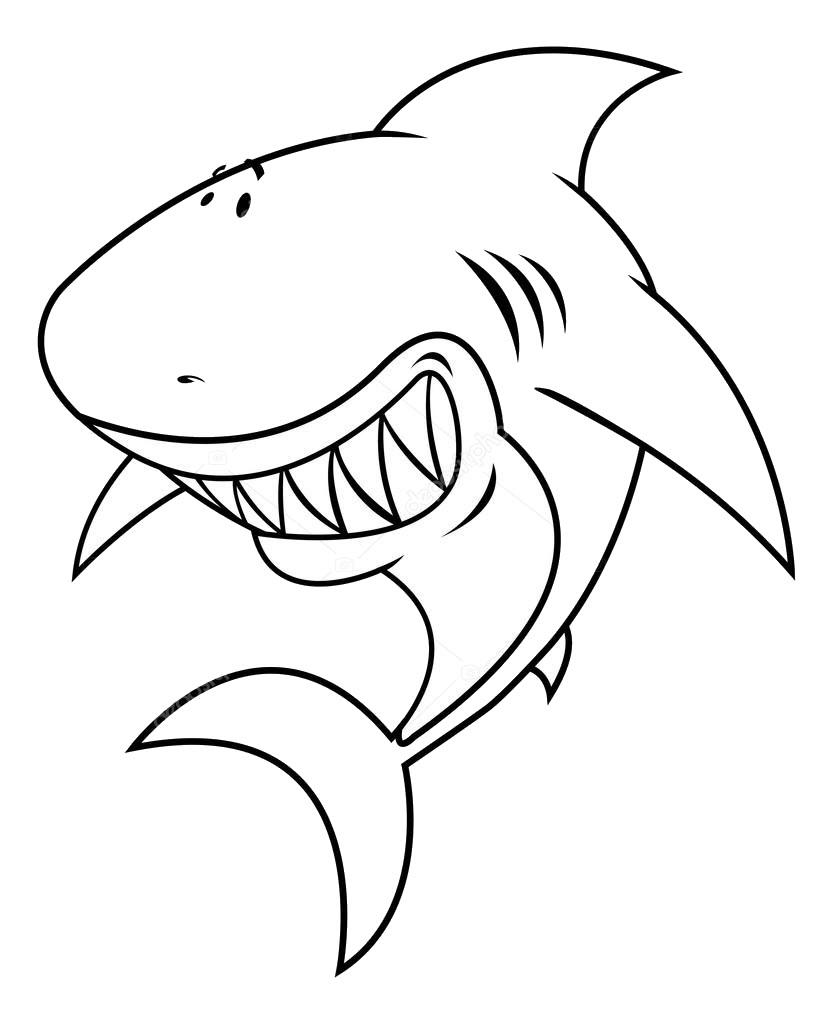 Tranh tô màu cá mập dễ thương