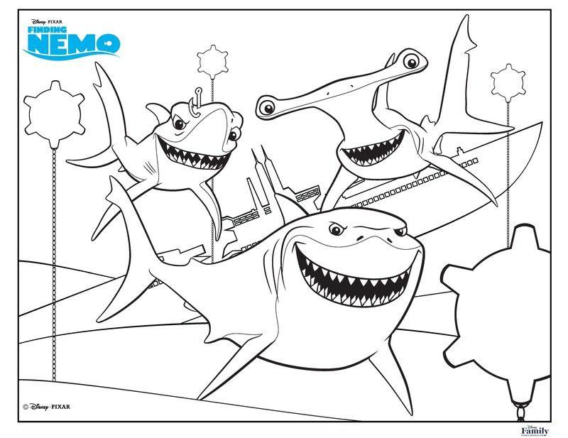 Tranh tô màu cá mập finding nemo