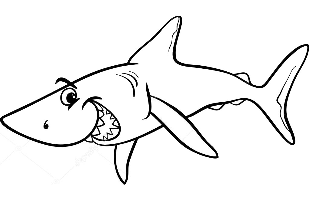 Tranh tô màu cá mập siêu ngầu