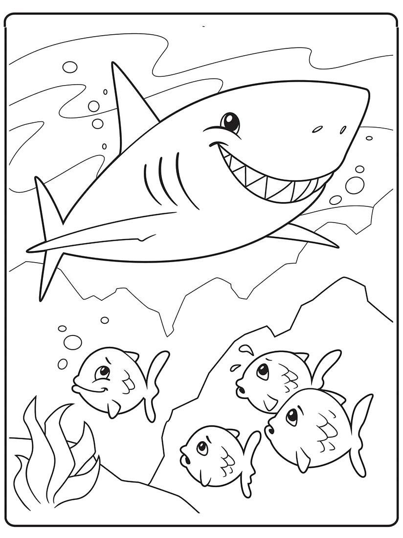 Tranh tô màu cá mập và đàn cá con