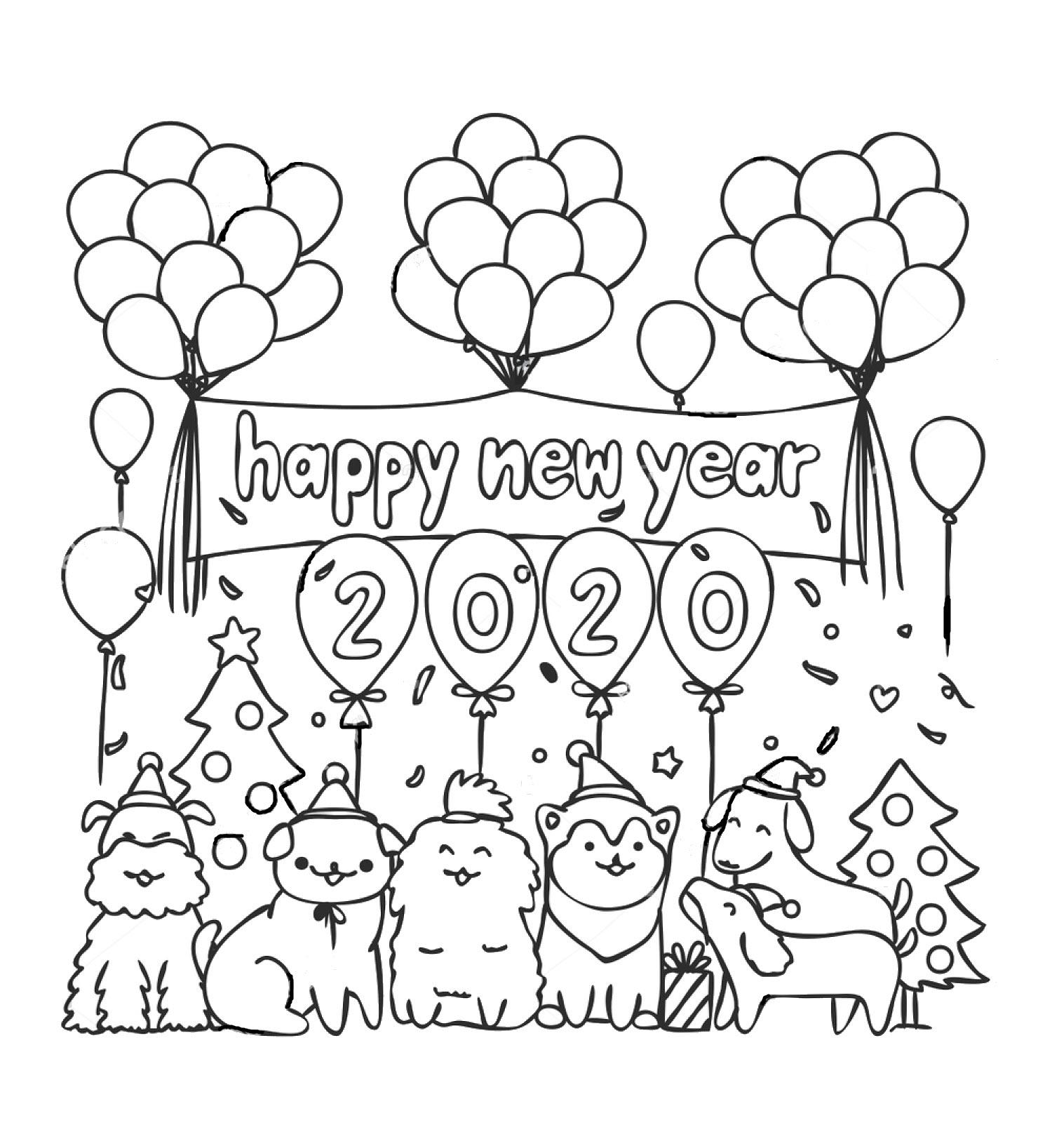 Tranh tô màu cho bé chúc mừng năm mới