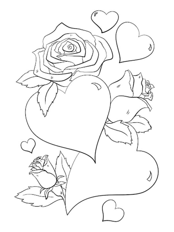 Tranh tô màu cho bé hình trái tim và hoa hồng
