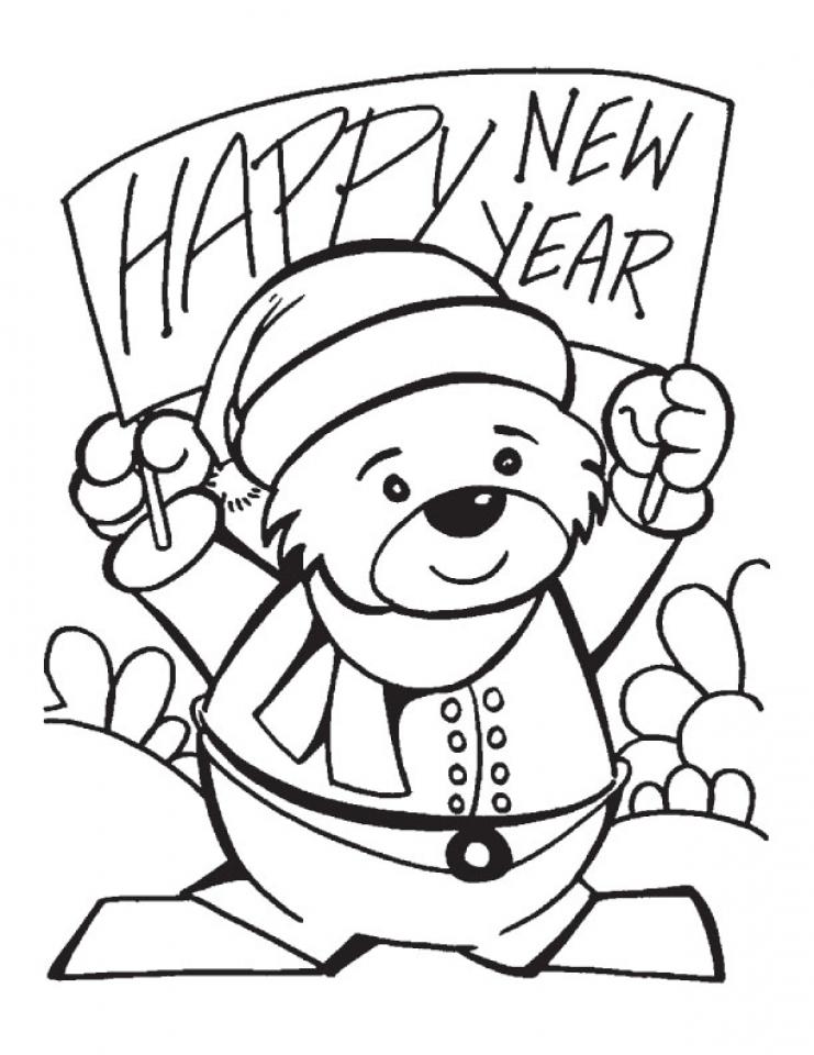 Tranh tô màu chúc mừng năm mới