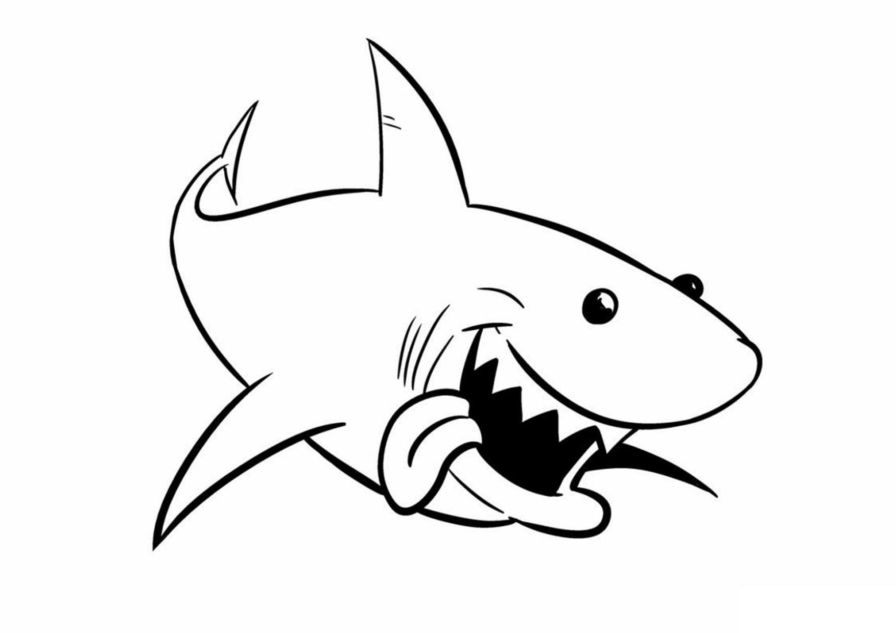 Tranh tô màu con cá mập dễ thương
