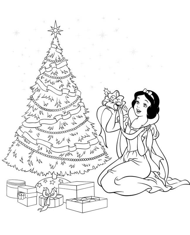 Tranh tô màu công chúa bạch tuyết cùng cây thông noel