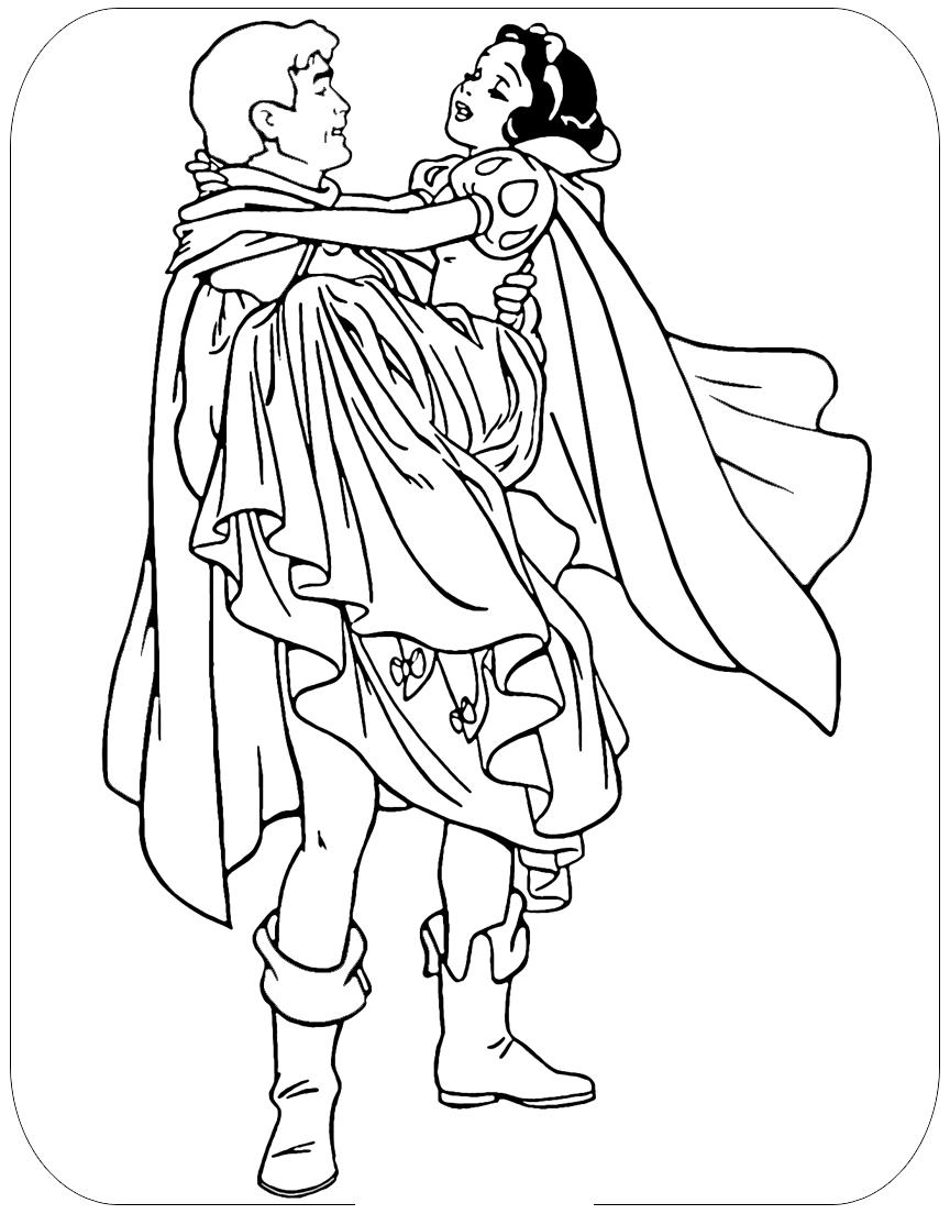 Tranh tô màu công chúa bạch tuyết và hoàng tử lãng mạn nhất