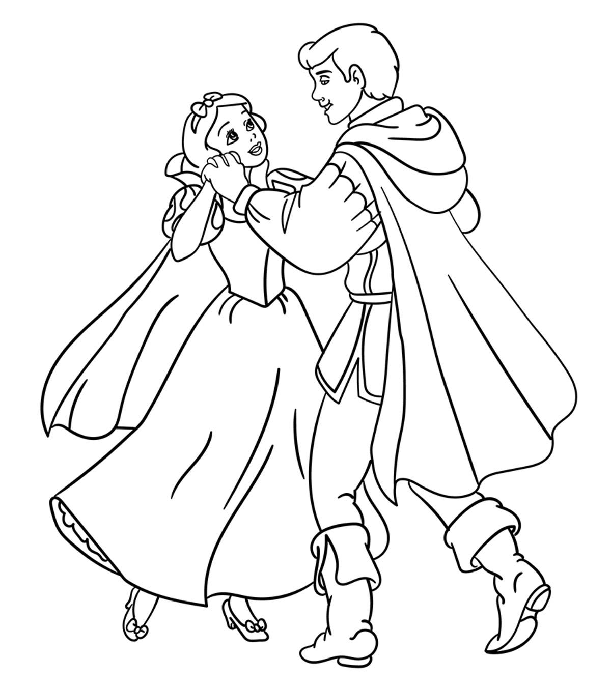 Tranh tô màu công chúa bạch tuyết và hoàng tử