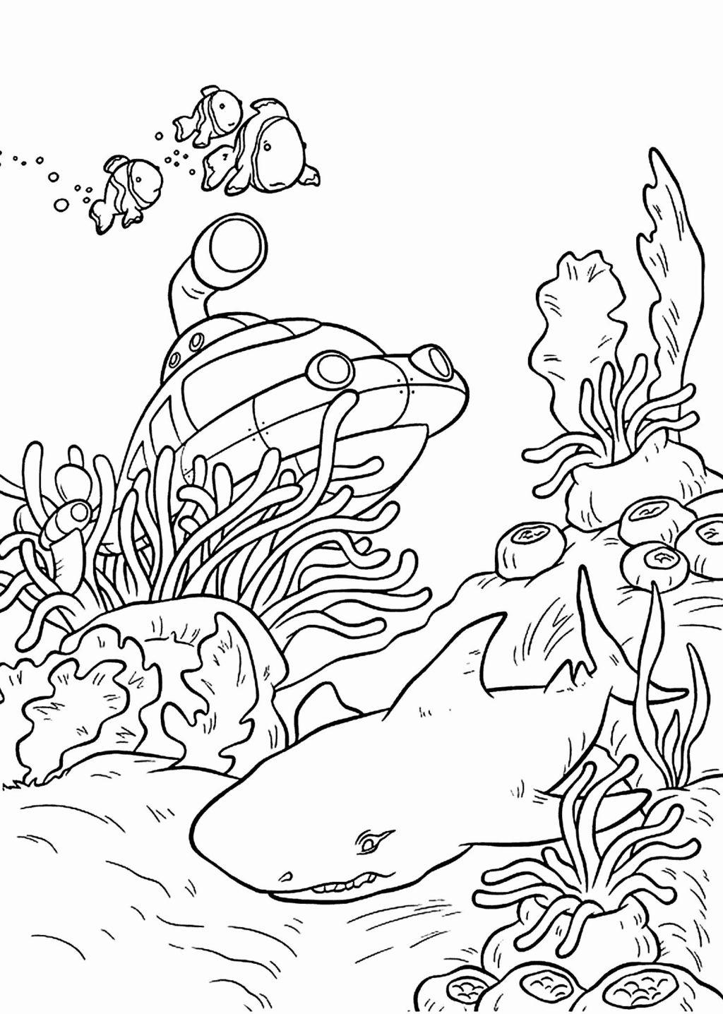 Tranh tô màu đại dương và cá mập