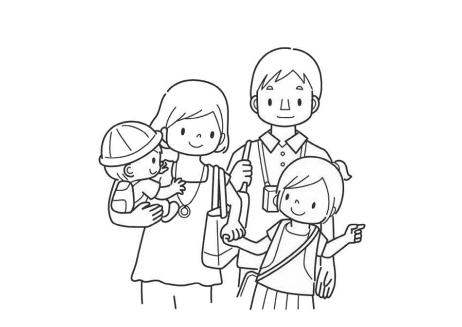 Tranh tô màu gia đình ngày tết
