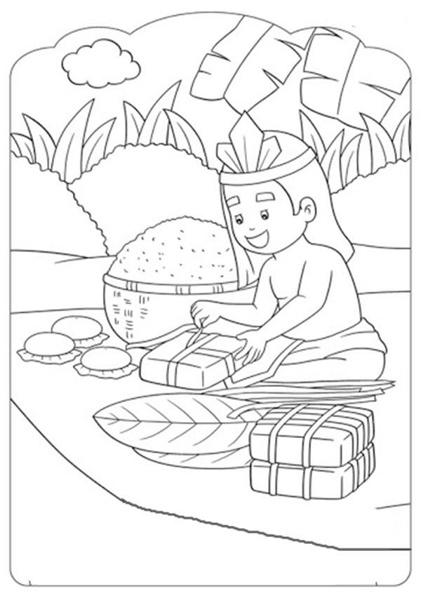 Tranh tô màu gói bánh chưng