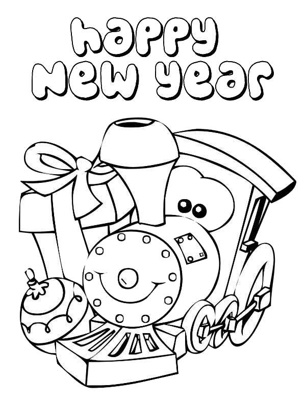 Tranh tô màu happy new year