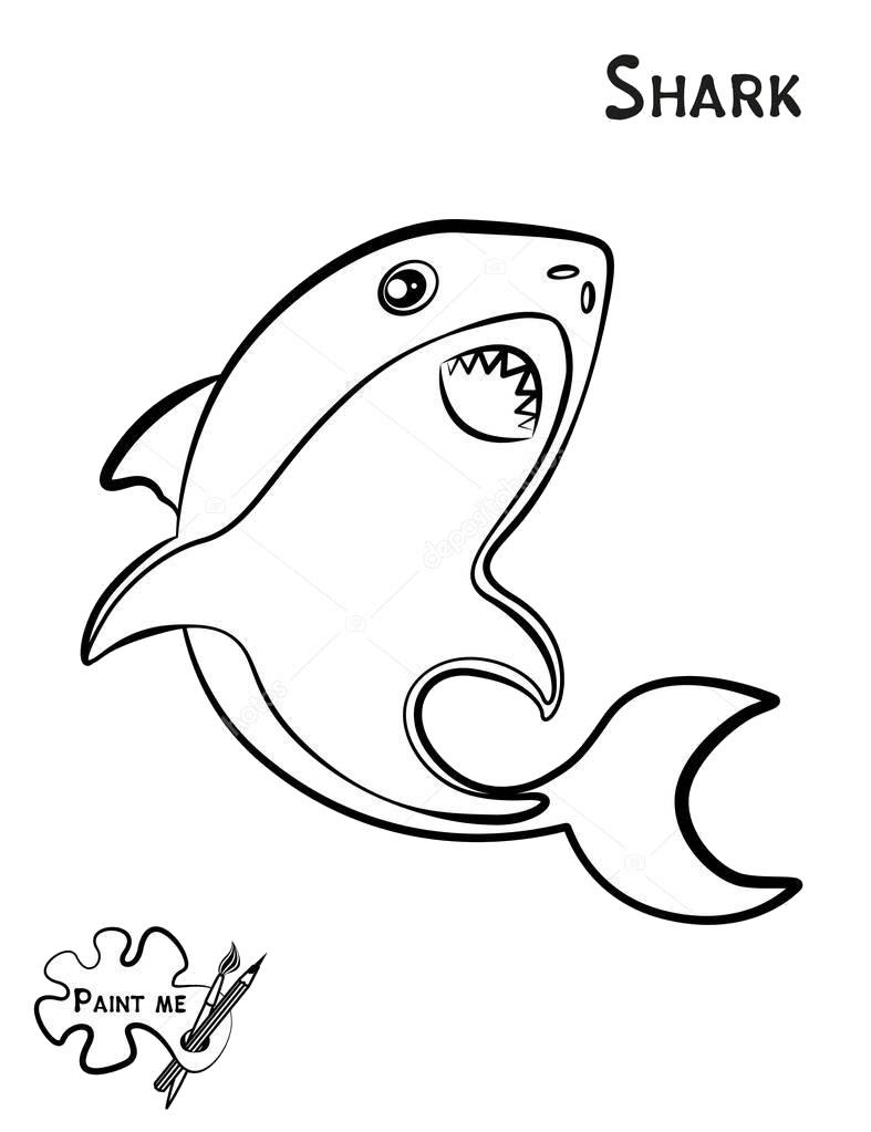 Tranh tô màu hình cá mập cho bé