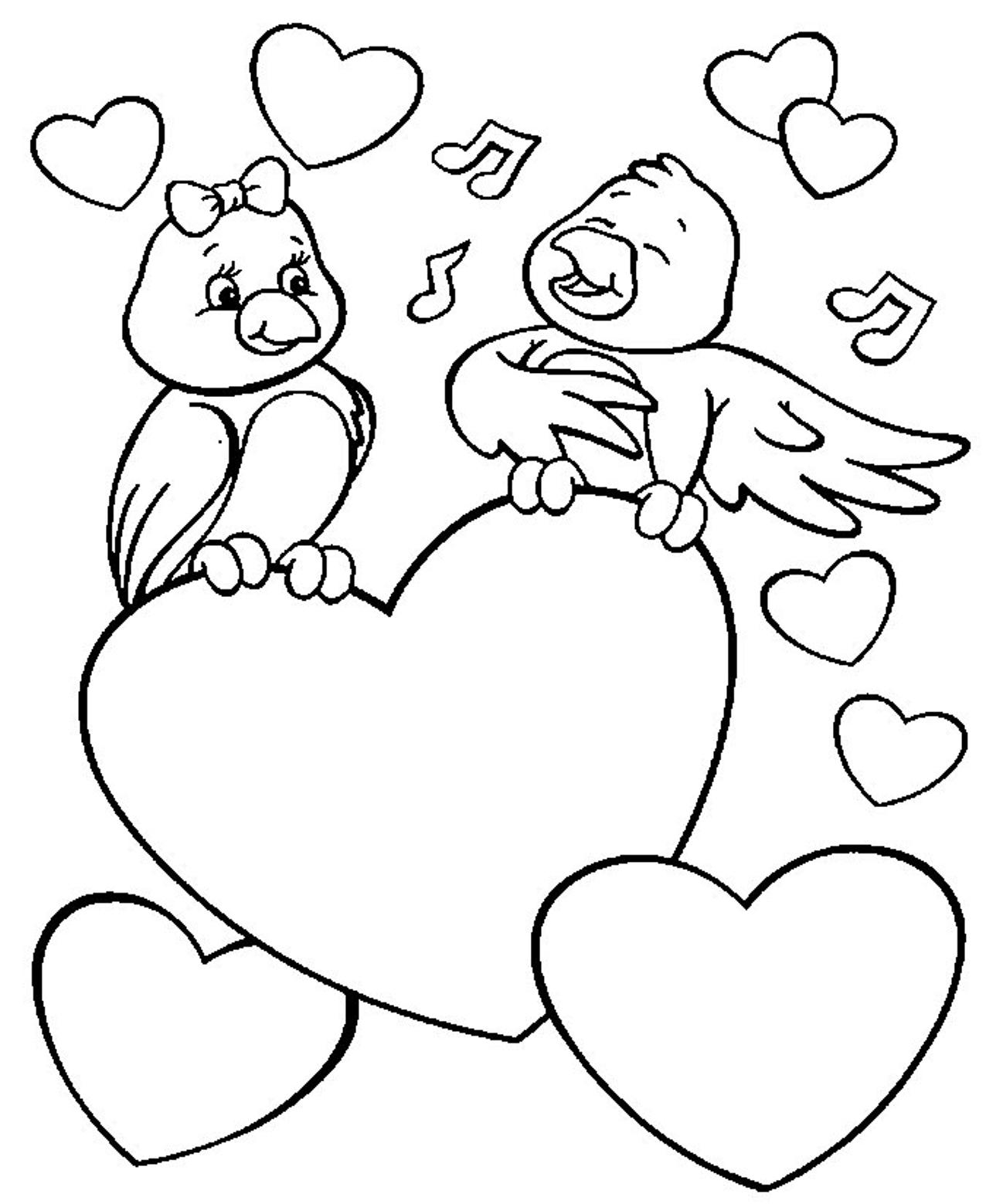 Tranh tô màu hình con chim và trái tim