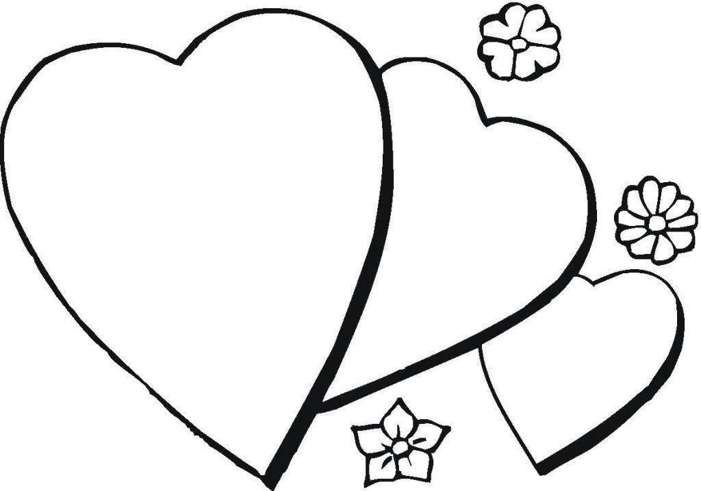 Tranh tô màu hình trái tim lồng nhau đơn giản