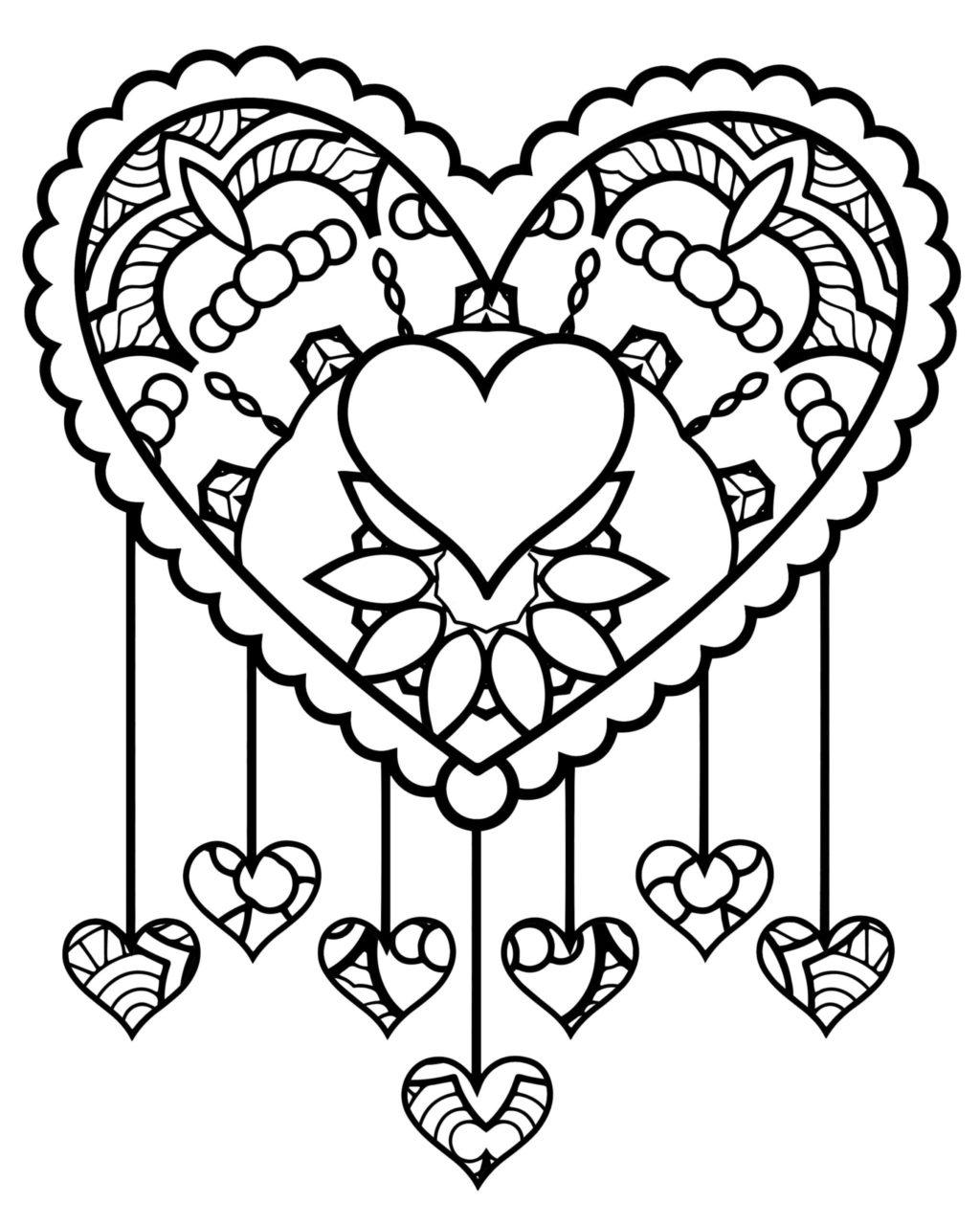 Tranh tô màu hình trái tim phức tạp