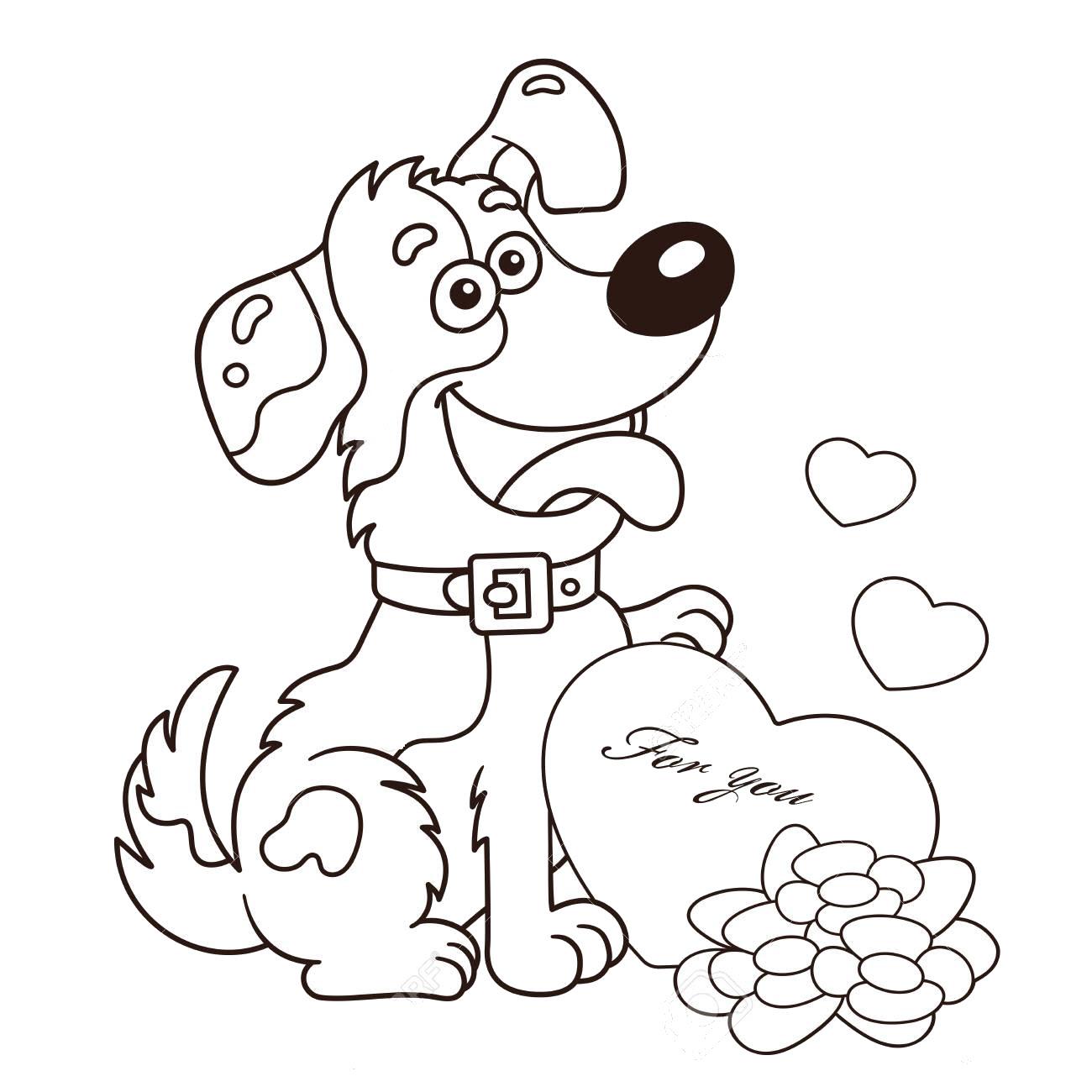 Tranh tô màu hình trái tim và con chó dễ thương