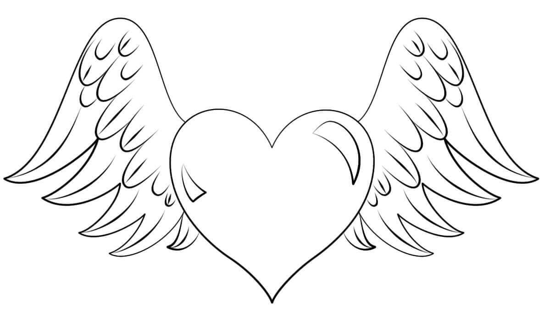 Tranh tô màu hình trái tim và đôi cánh thiên thần