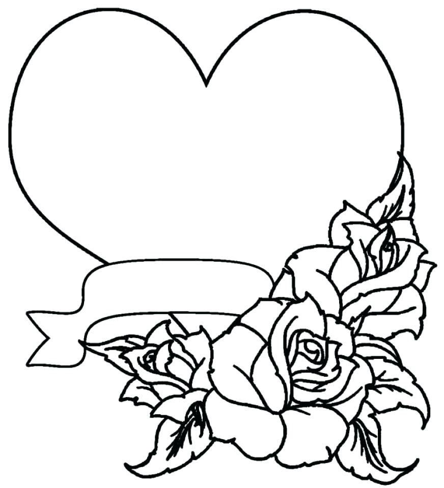 Tranh tô màu hình trái tim và hoa hồng đẹp nhất